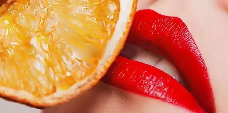 женские губы и апельсин для Ветки сакуры